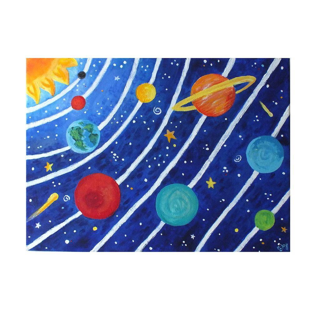 CUSTOM art, Solar System, 16x12 acrylic canvas painting ...