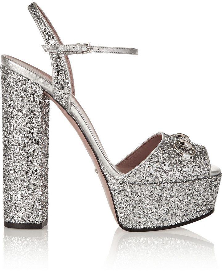 6bcb147986e9 Gucci Horsebit-Detailed Glitter-Finished Leather Platform Sandals ...