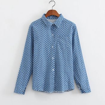 2015 Fashion women's Denim/Jean jacket cowboy coat blouse Shirt cardigans single breasted long sleeve Heart/Love pattern