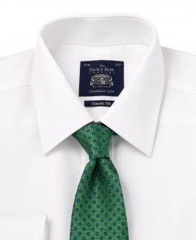 Single Cuff Savile Row Mens White Herringbone Classic Fit Shirt