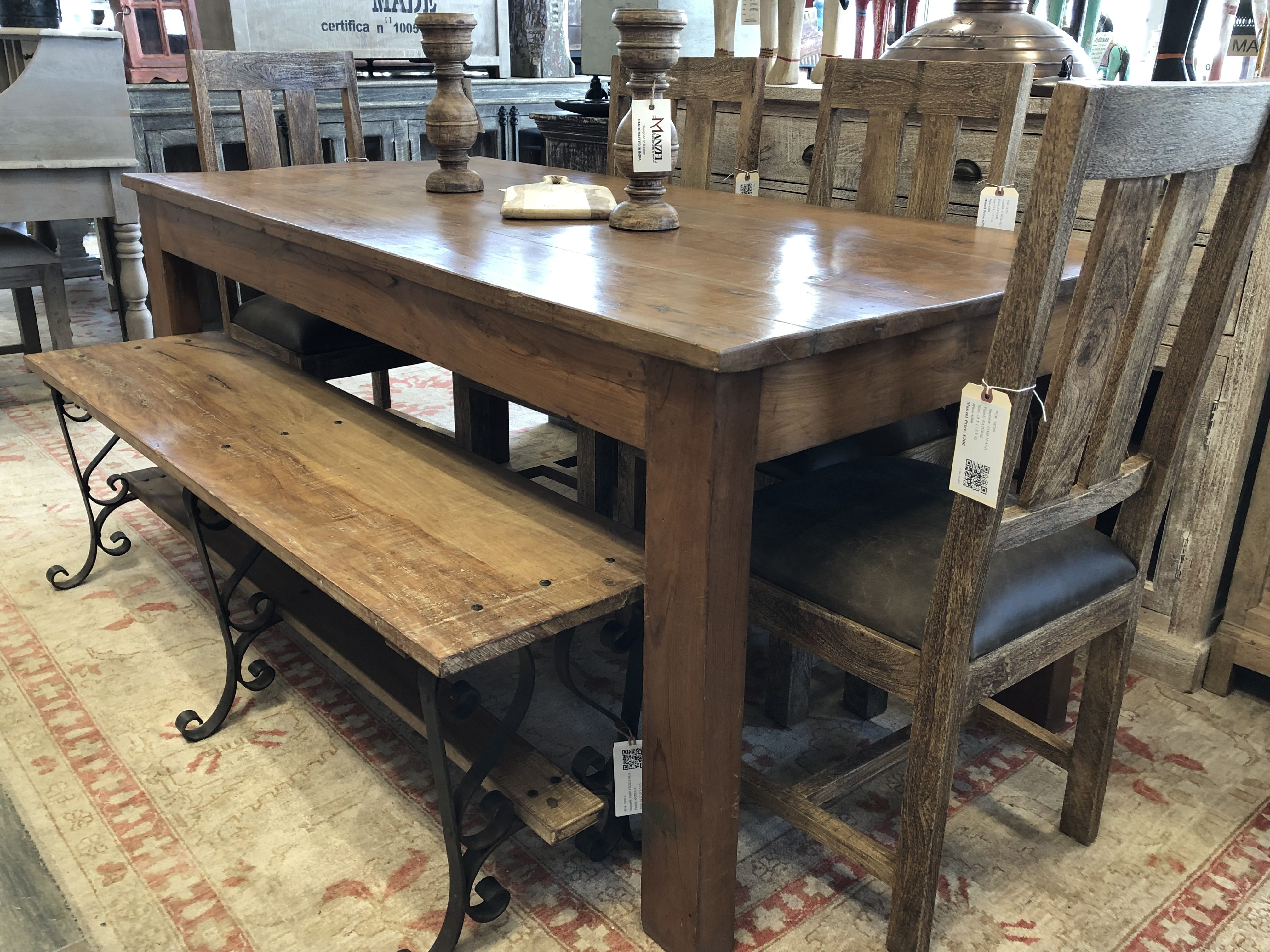 Clean Parson Design Table From Reclaimed Wood Bench Is A Little More Decorative Rustic Wood Furniture Dining