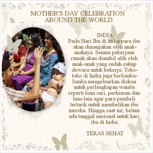 Hari ibu di India mengikuti tradisi barat untuk merayakan