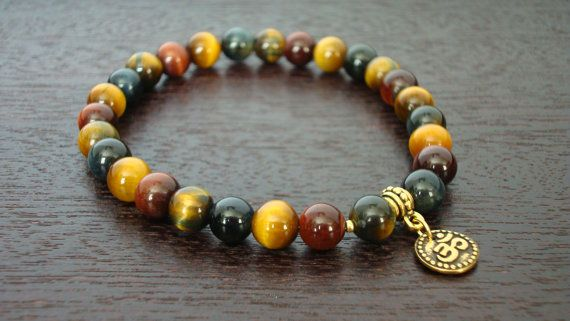 Men's Mixed Tiger's Eye Wrist Mala - Mixed Tiger Eye & Om Mala Bracelet - Yoga, Buddhist, Meditation, Prayer Beads, Jewelry on Etsy, $24.00