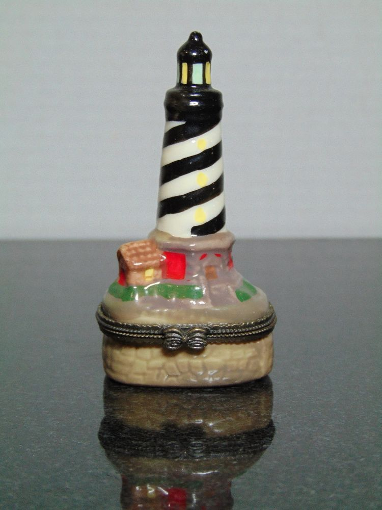 Vintage Lighthouse Trinket Box Jewelry Ceramic Porcelain
