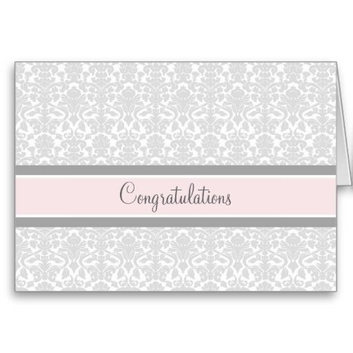 Pink Gray Damask Congratulations on Expecting Greeting Cards