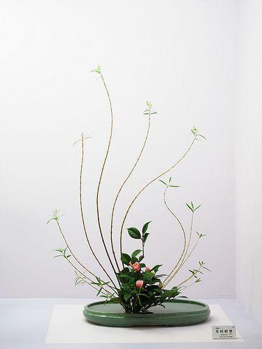 Very Graceful Ikenobo Arrangement With Slender Branches Making Wonderful Curves Ikebana Flower Arrangement Ikebana Ikebana Arrangements