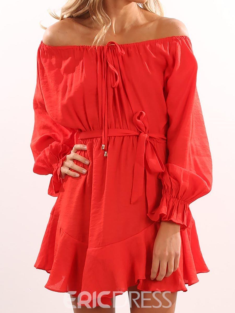 Slash neck long sleeves casual dress ruffles st and fashion