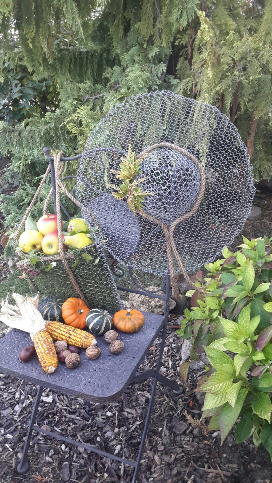 Herbstdeko drahthut drahttasche marke eigenbau for Gartenschmuck aus metall