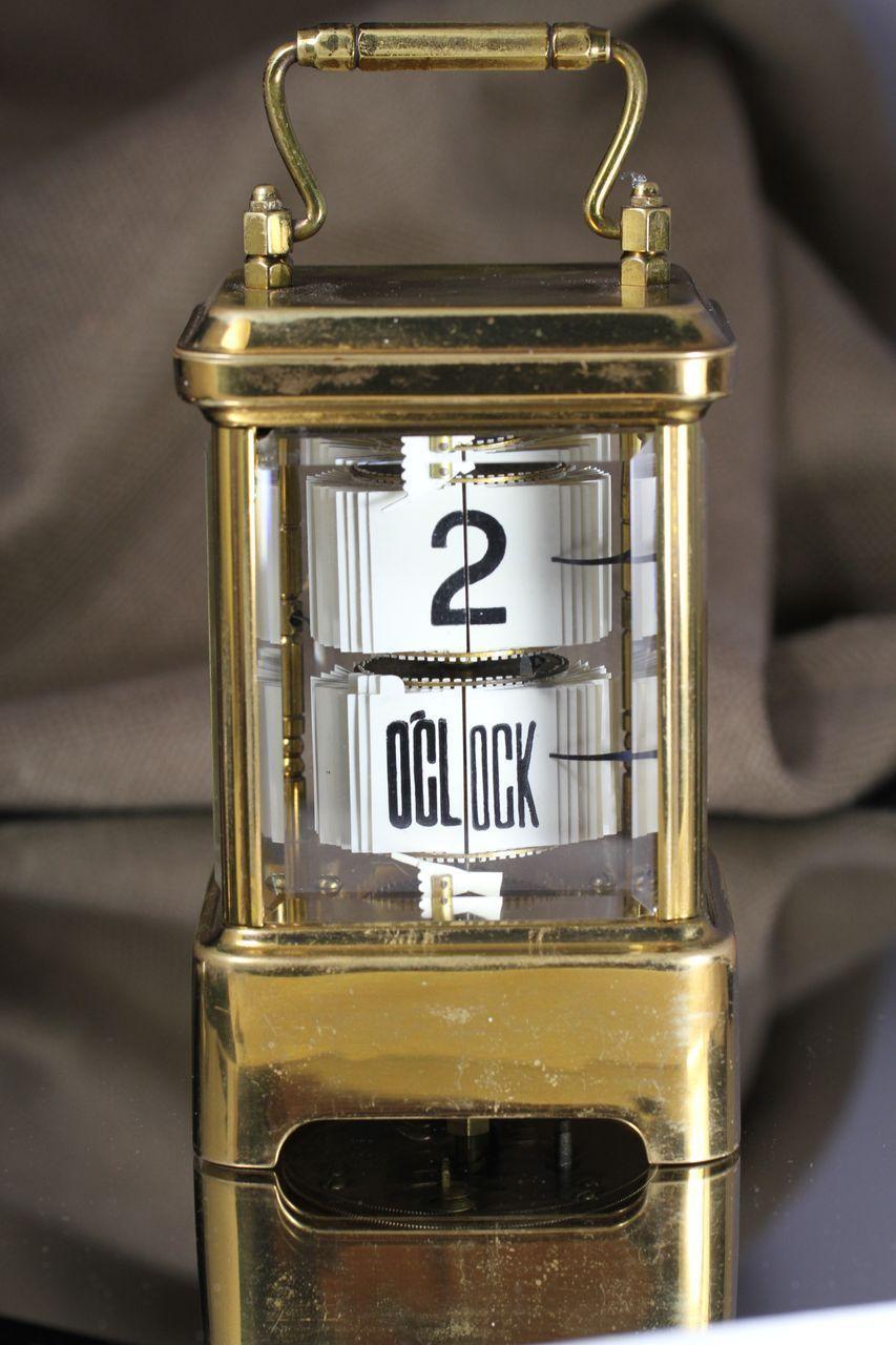 1902 Antique Brass Plato Flip Ticket Desk clock - 1902 Antique Brass Plato Flip Ticket Desk Clock Desk Clock, Plato