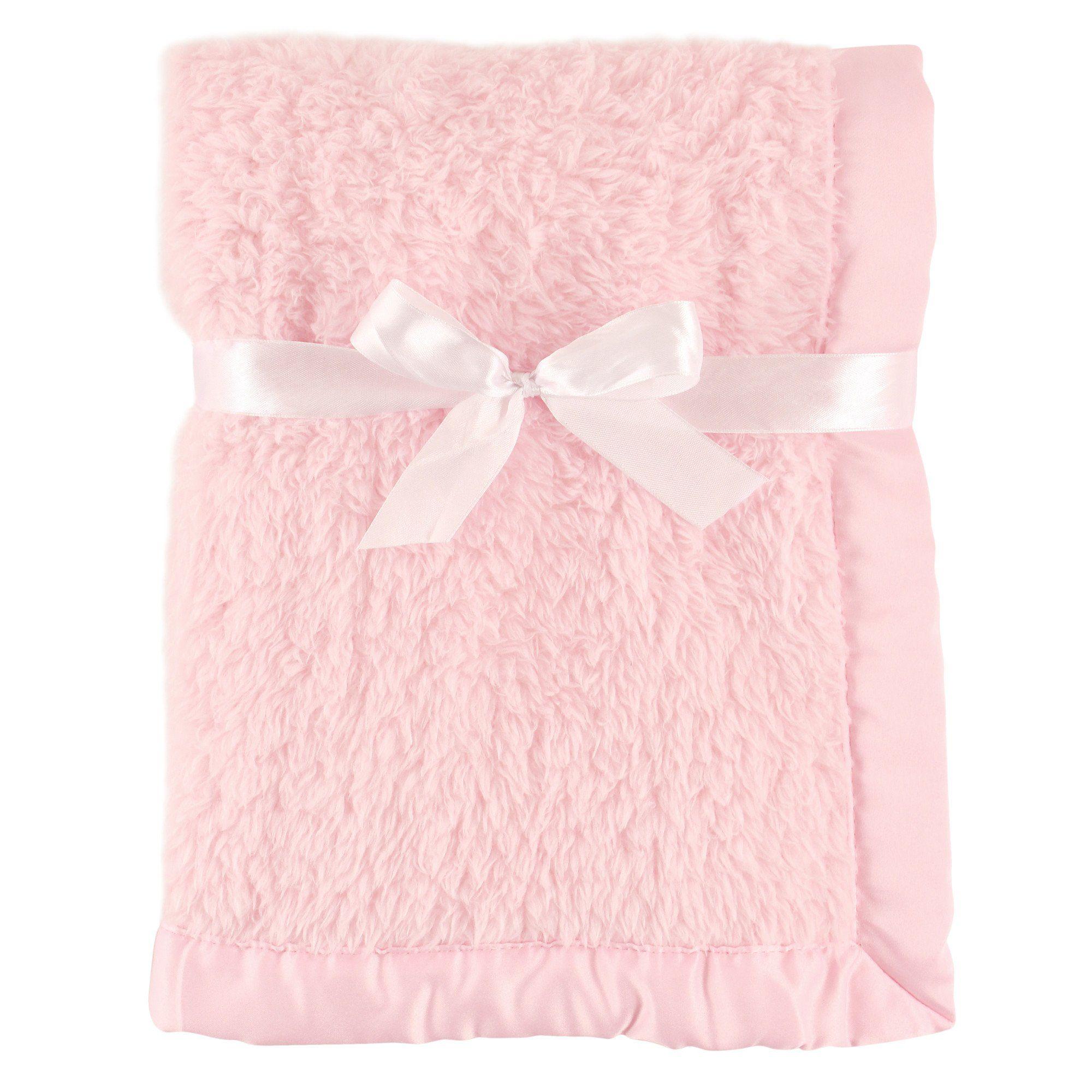 Pink Hudson Baby Sherpa Blanket with Satin Binding