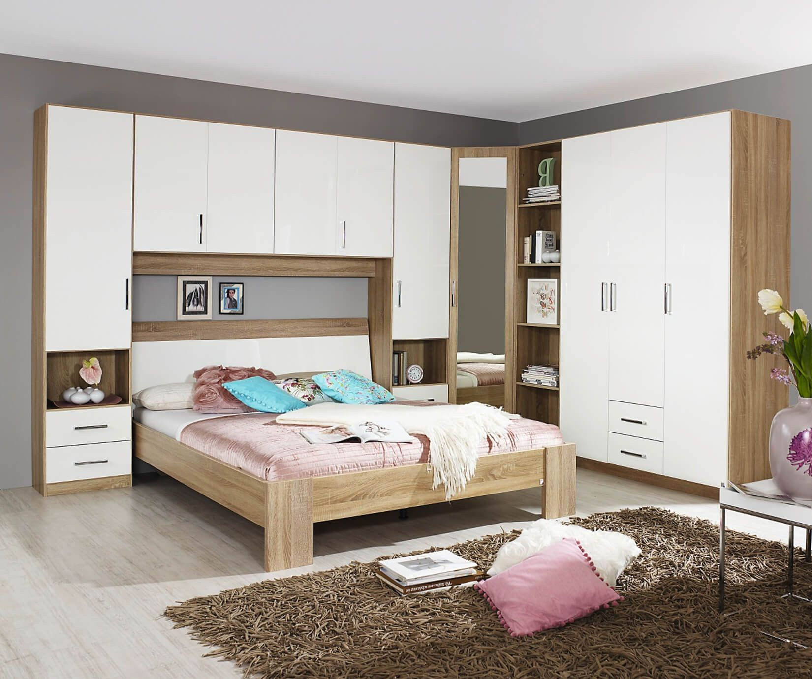 Cologne Overbed Unit Wardrobe Bridge Bedroom Fitment White Gloss  # Muebles Fiasini