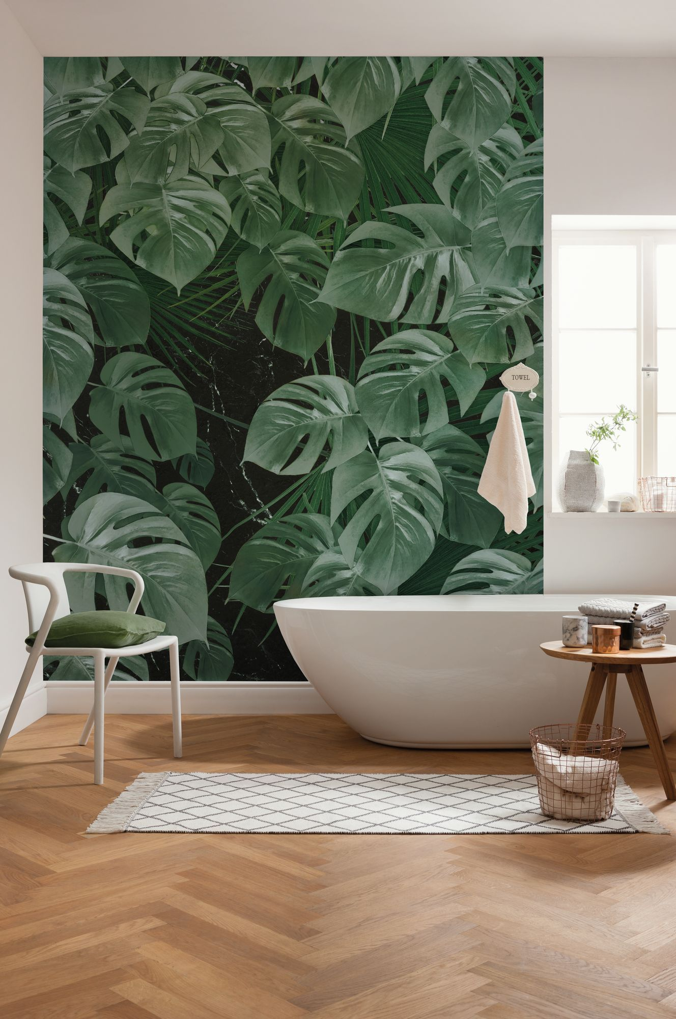 Digital Wallpaper Monstera On Marble Mural Wallpaper Mural Wall Wallpaper
