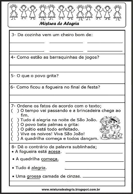 Avaliacao De Portugues 2º Bimestre Festa Junina Imprimir E
