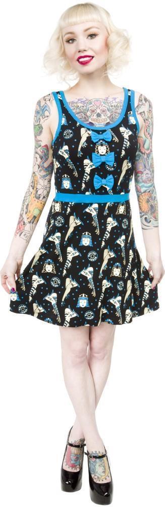 SOURPUSS - ROLLER DERBY DARLIN' DRESS, ROLLER SKATES PRINT - BLUE *NEW* #SOURPUSSCLOTHING #Sundress #Casual
