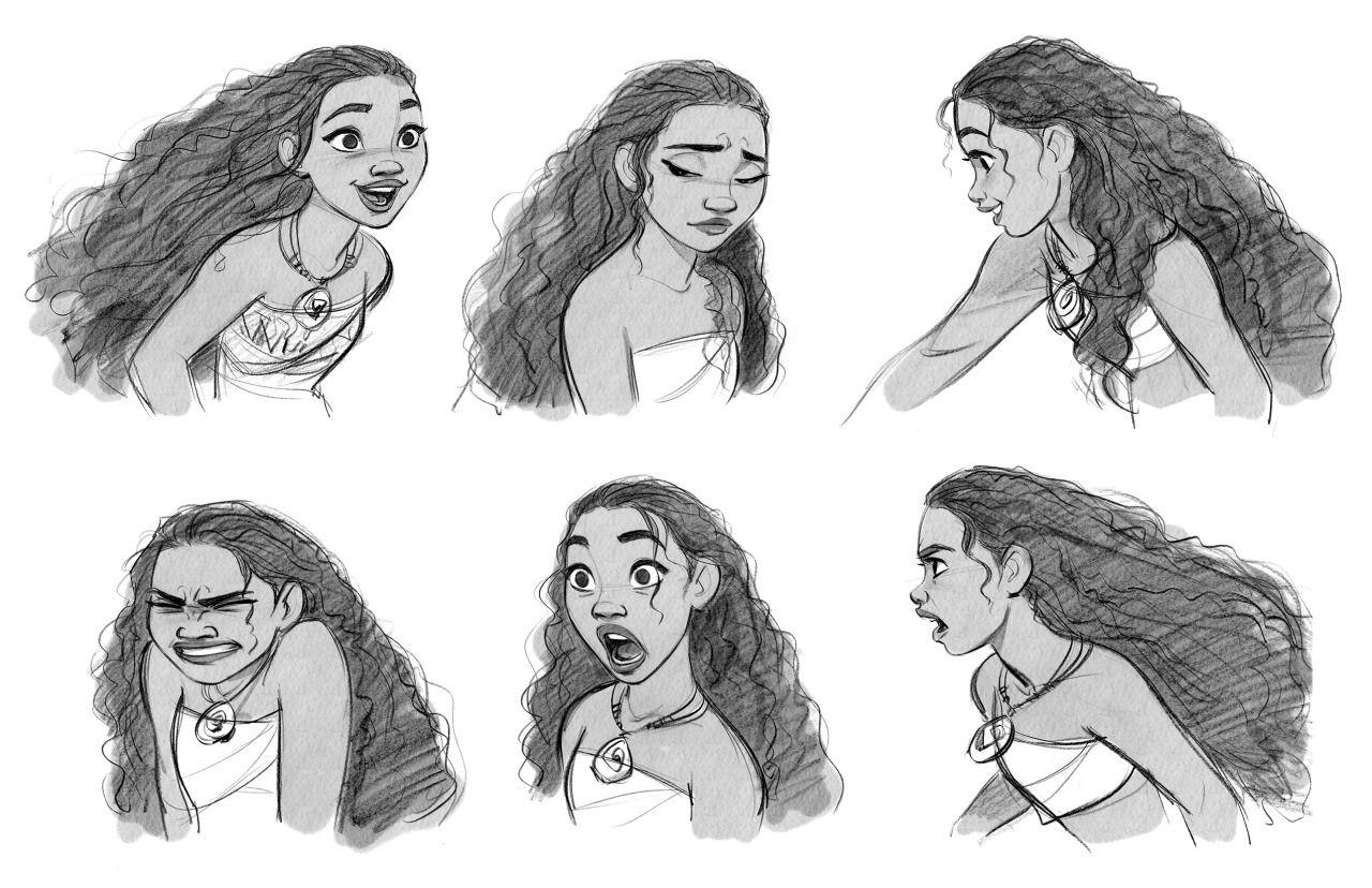 Moana Disney Character Design : Moana facial expressions character
