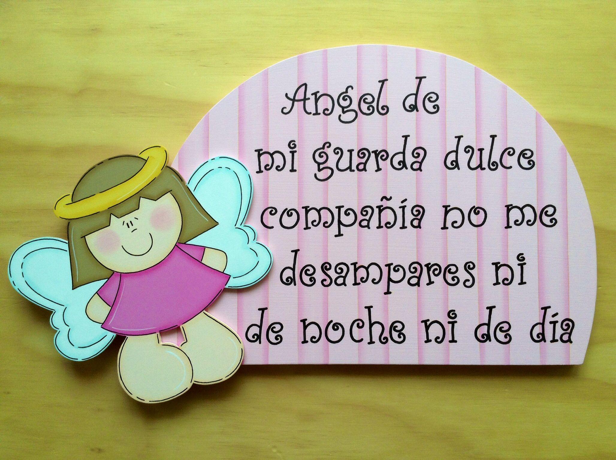 Retablo Angel de la Guarda Niña | Madera country | Pinterest | Angel ...