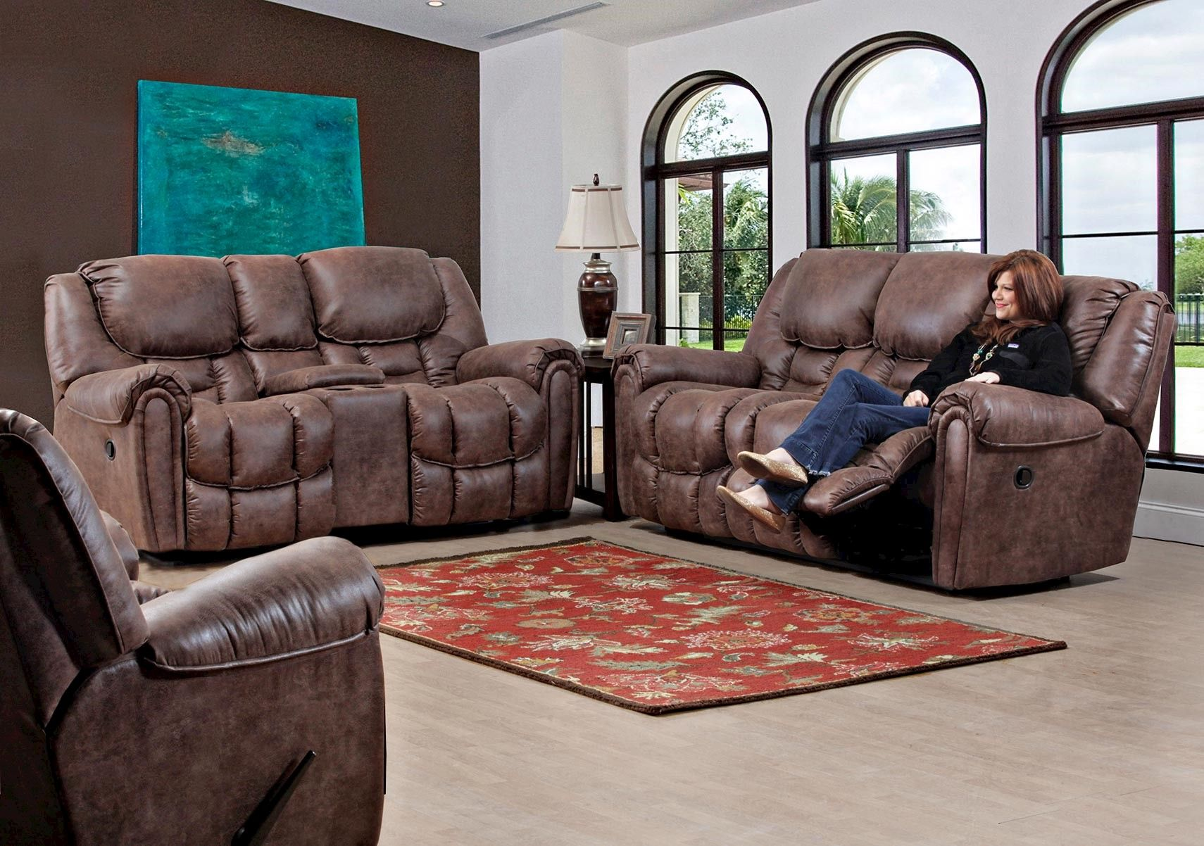 Lacks Dixie Mocha 3 Pc Living Room Set Living Room Sets