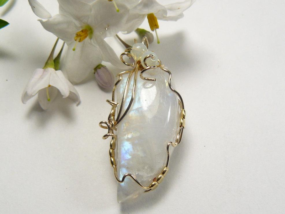 Natural Rainbow Moonstone pendant, 3/4 x 1 5/8\