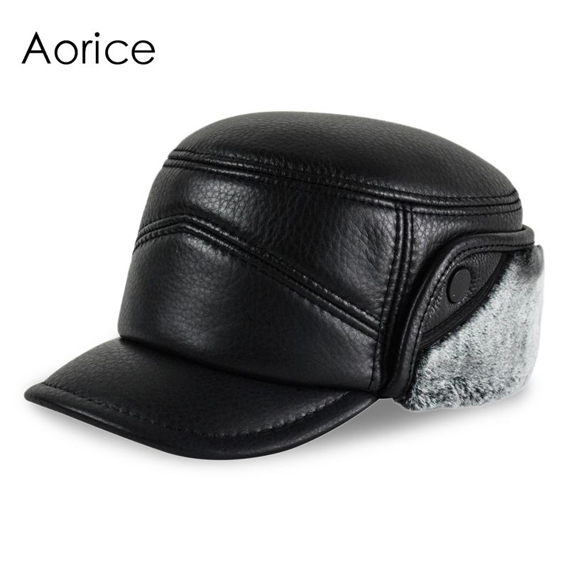742564dd6e30b HL156-F Genuine leather baseball cap hat men s winter brand new real leather  hats caps with ear flap Faux fur inside