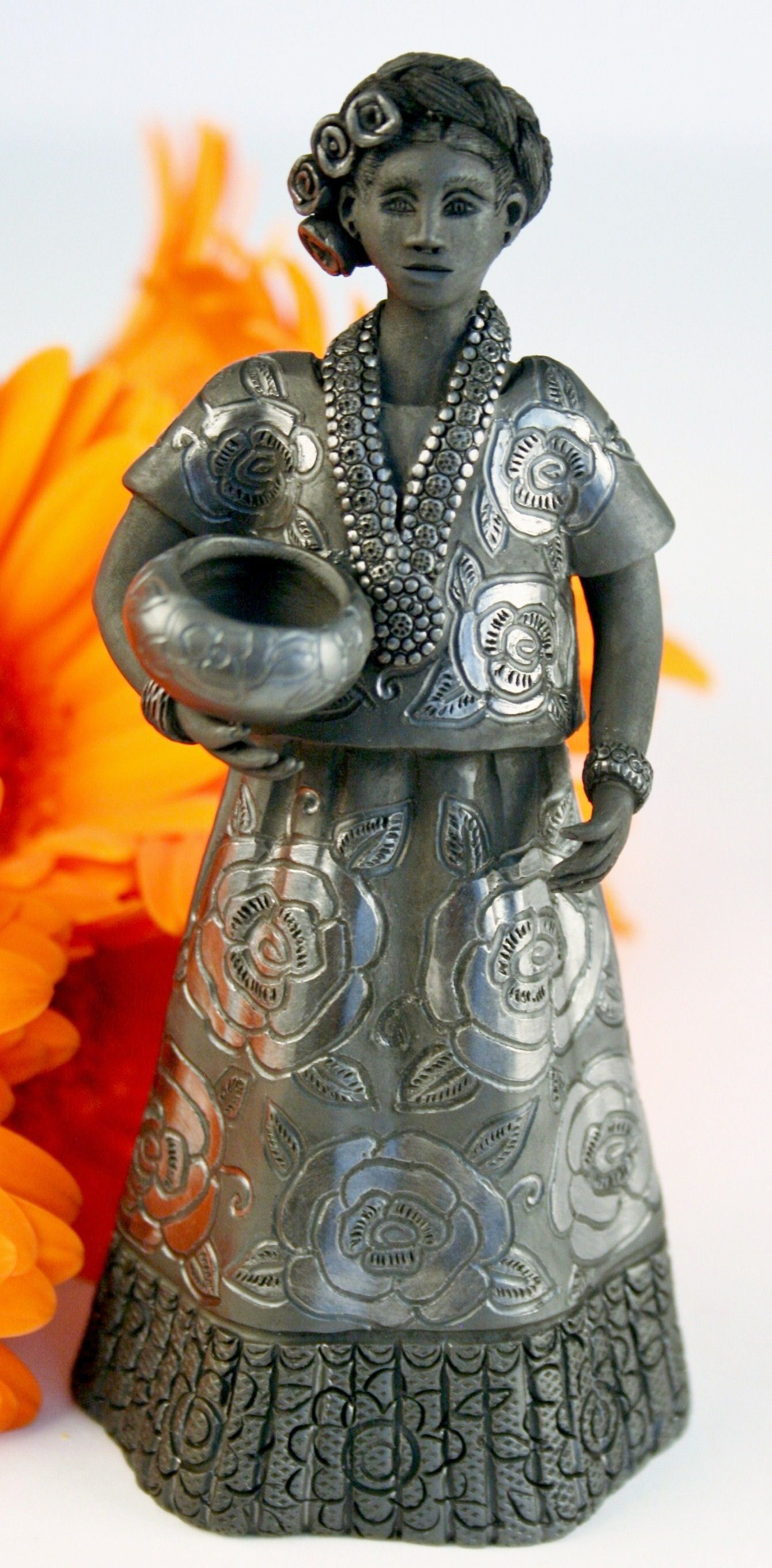 Oaxaca Black Pottery Small Tehuana Woman Magdalena Pedro