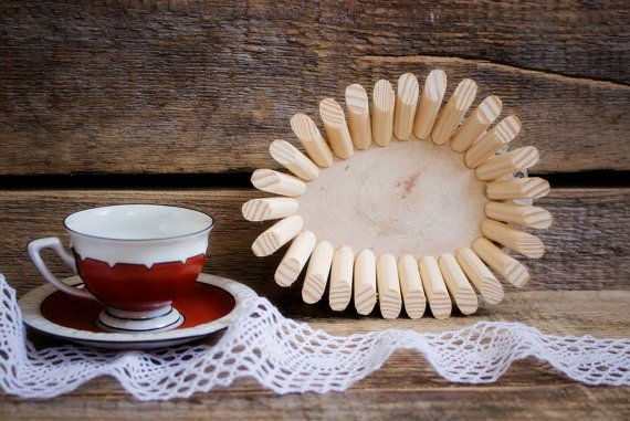 Perfect  Small Wood Coaster Stand Wooden Rustic by YourHomeMarket