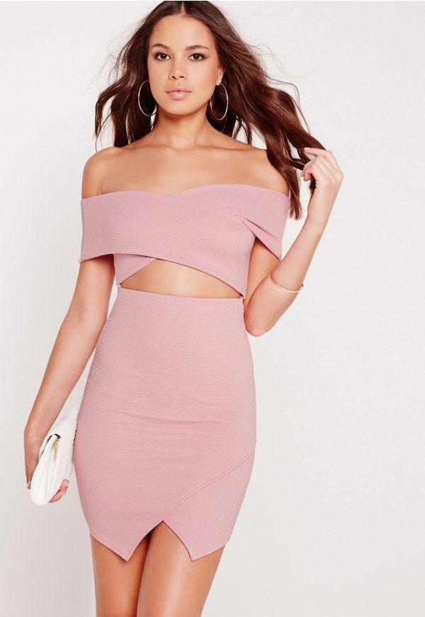 Ribbed Bardot Bodycon Dress Lilac