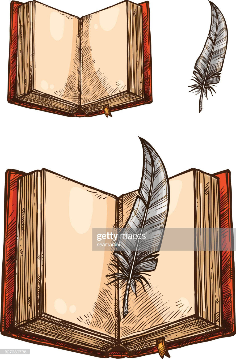 Old Book With Empty Page And Feather Pen Isolated Sketch Open Open Book Drawing Open Book Tattoo Dark Art Drawings