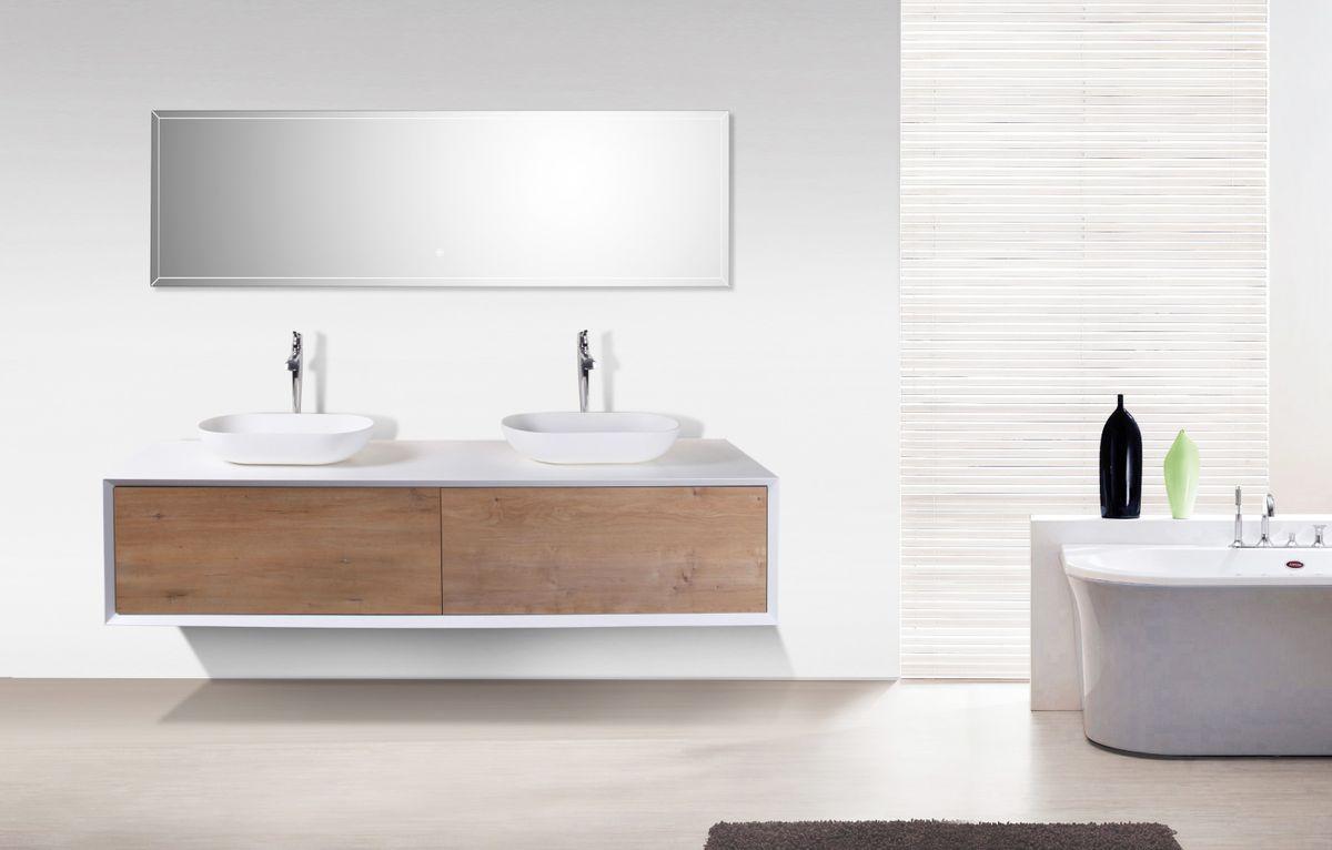 Badmobel Fiona 1800 Weiss Matt Front In Eiche Optik Spiegel Und Aufsatzwaschbecken Optional Bild 1 Badezimmereinrichtung Bad Set Badezimmer Dekor