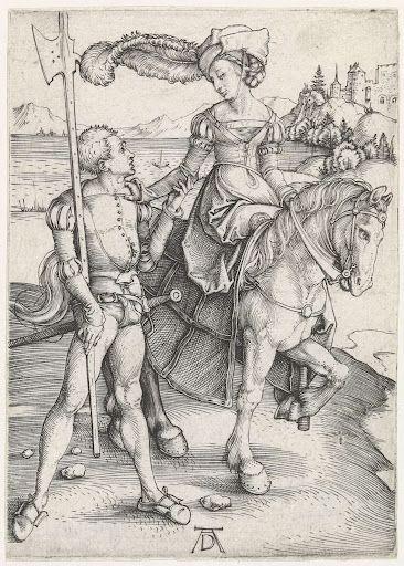 Vrouw te paard en soldaat, Albrecht Dürer, 1495  #PublicDomain