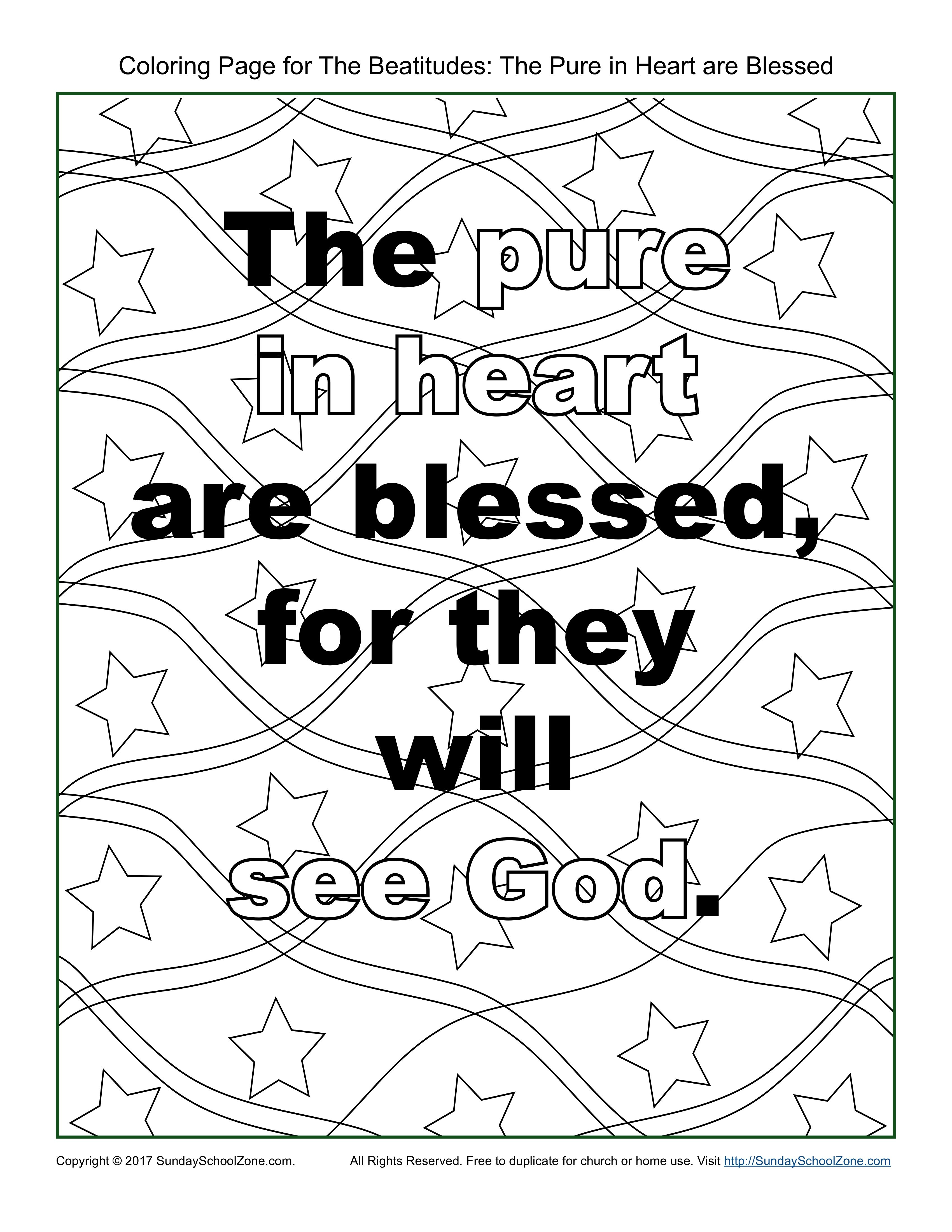 Pure In Heart Beatitudes Coloring Page