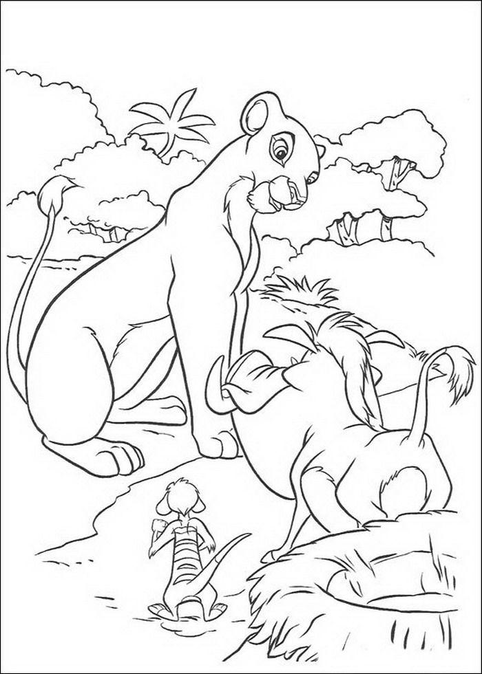 kleurplaat Lion King of de Leeuwenkoning - Nala praat met Timon en ...
