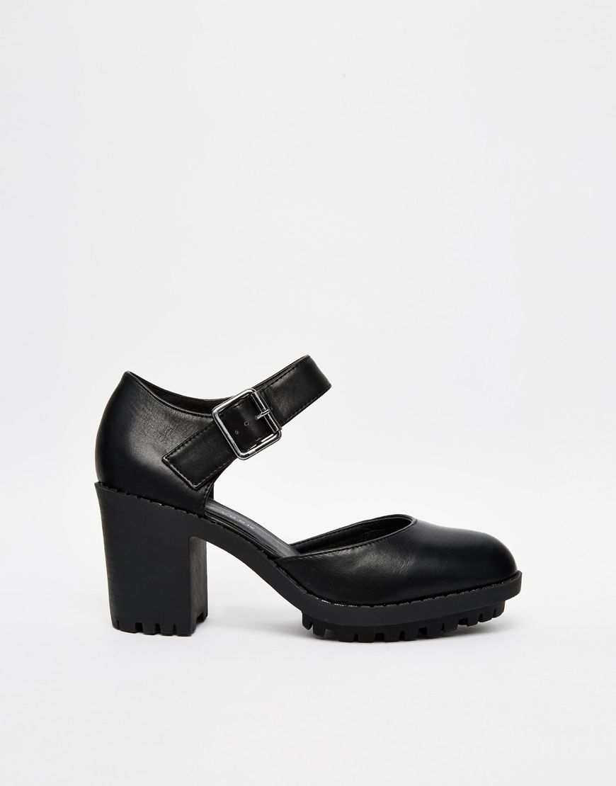 Image 2 of New Look Wide Fit Safeguard Cleated Shoe Heeled Shoes