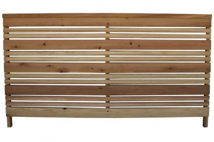 A good solution for a short fence (like picket fencing) with a contemporary  look, the Three-foot Redwood Flat Top Fence Panel; Found at Home Depot - A Good Solution For A Short Fence (like Picket Fencing) With A
