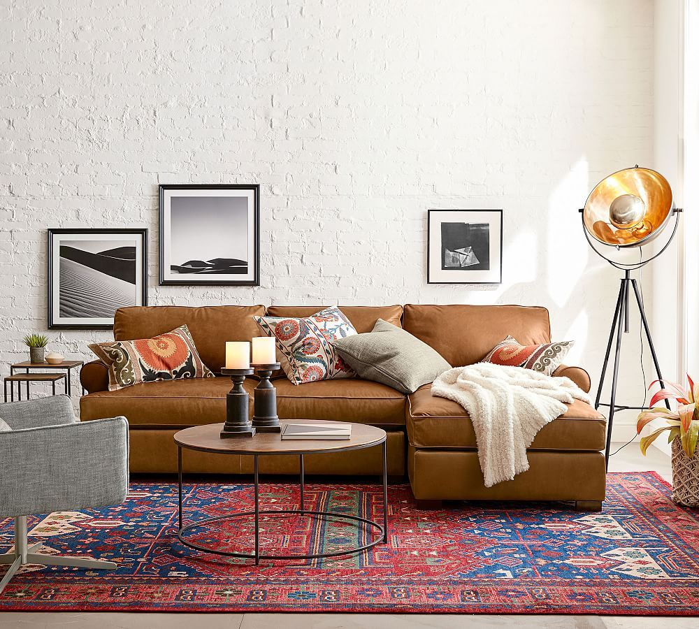 Townsend Roll Arm Leather Chaise Sofa Sectional | Wohnzimmer ...