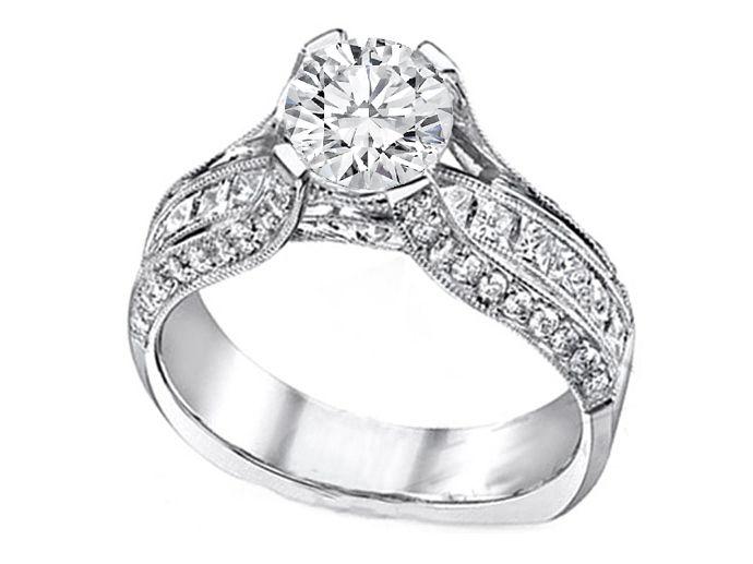 Engagement Ring Diamond Bridge 1 10 Tcw In 14k White Gold Es619