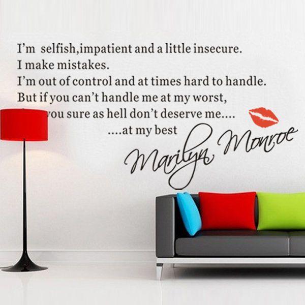 Marilyn Monroe Quote Handle Me Worst Deserve Me Best Vinyl Wall Decal Sticker