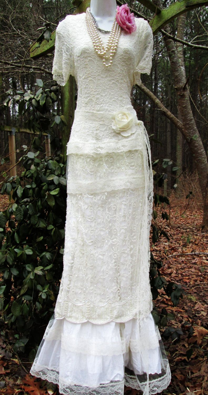Edwardian wedding dress  Cream wedding dress lace beaded vintage tulle by vintageopulence