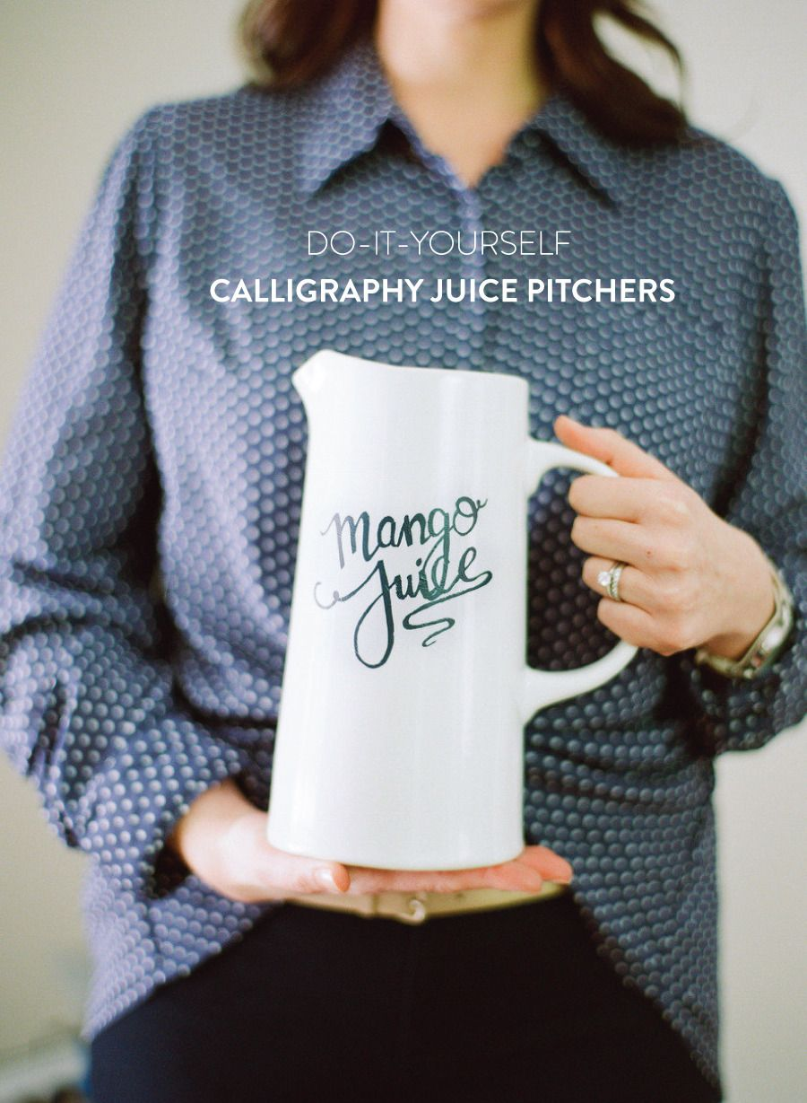 DIY Calligraphy Juice Pitchers. Get the how right here: http://www.stylemepretty.com/2013/05/02/prep-chic-party-diys/ Photography: White Loft Studio, http://www.whiteloftstudio.com/ | Styling: Style Me Pretty | Pitcher from target.com