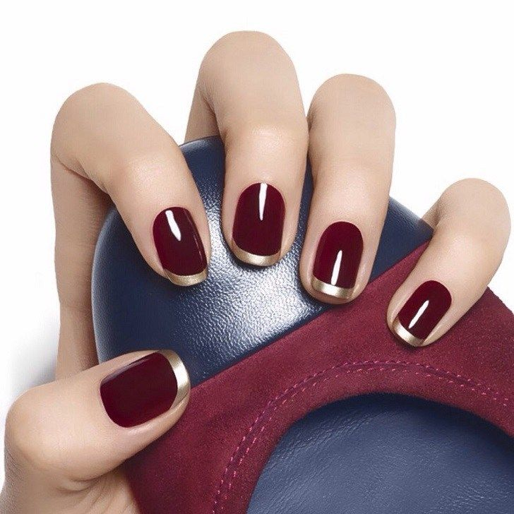 Burgundy nails, being a part of the red color palette, never go out ...