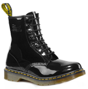 Dr. Martens - 1460 womens. My beautiful new, black lacquered leather boots. I'm gonna wear them for decades.