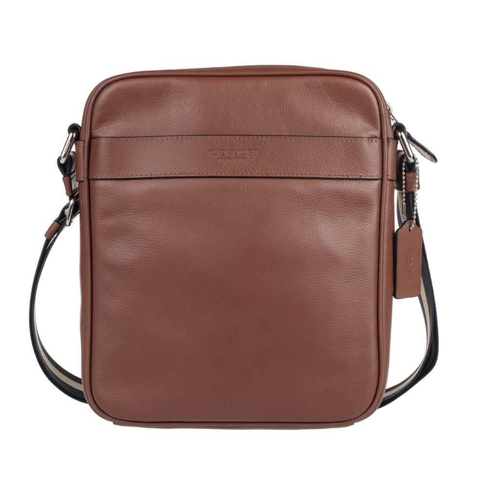 aa1e77f72d609 Charles Flight Bag In Smooth Leather (Coach F54782) Dark Saddle ...