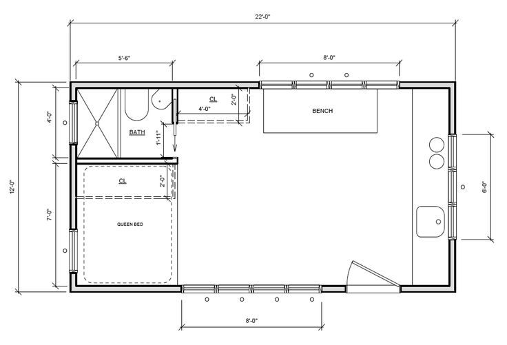 Minim House 12 x 22 2B Modular Homes Floor Plans