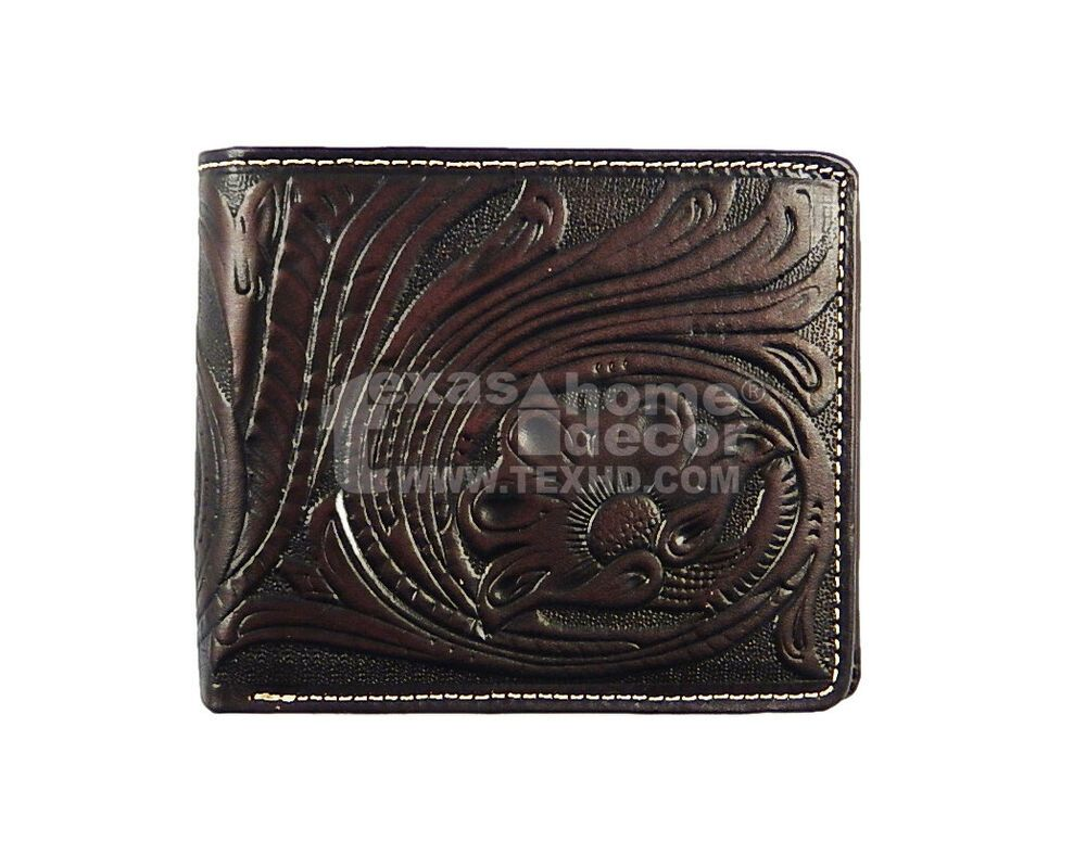 Western Bi-Fold Men/'s Rodeo Wallet Black Brown Floral Genuine Tooled Leather NEW