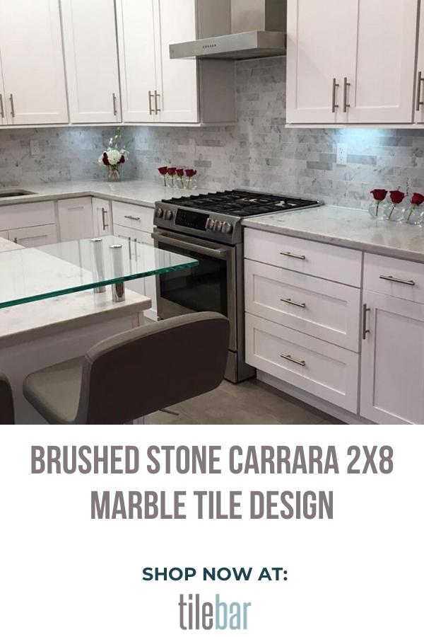 brushed stone carrara marble tile 2x8