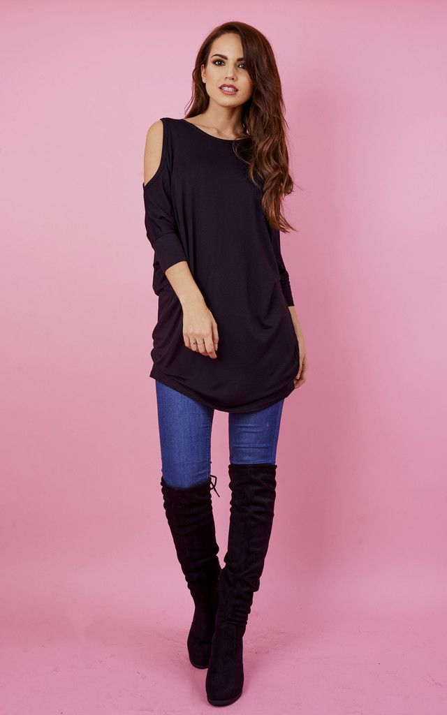bdbdc13102ad6 A classic black cold shoulder jumper is never a bad idea. Easy to throw over