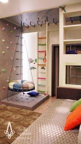 quarto de menino, cinza, madeira, branco, mix de cores, parede de escalada, balanço