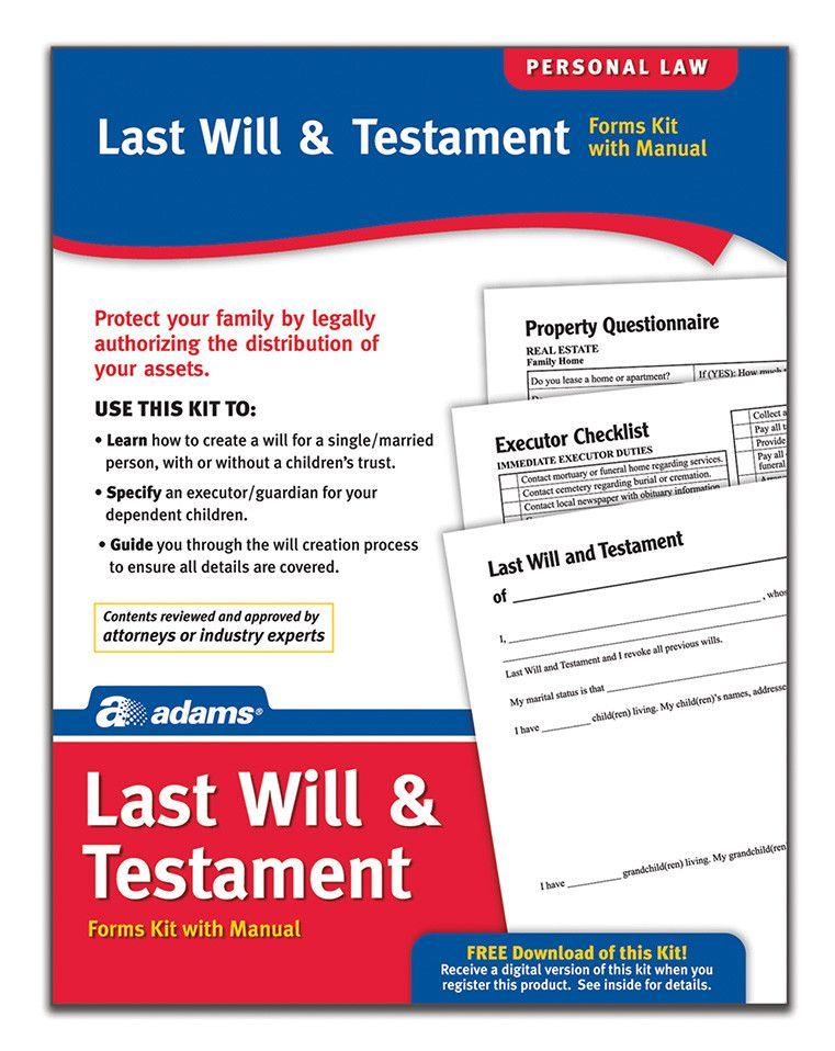 Last Will and Testament Forms and Instructions Kit (Set of 4 - last will and testament form