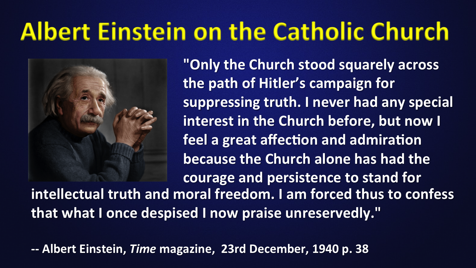 Einstein On The Catholic Church