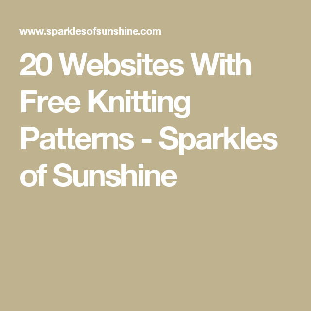 20 Websites With Free Knitting Patterns | Modelo y Tejido