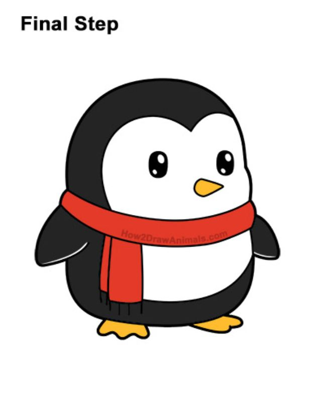 Easy Things To Draw When You Are Bored Free Drawing Lessons Cute Penguin Cartoon Penguin Cartoon Cute Little Drawings